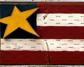 Americana Decor Wood American Flag Patriotic Decor Primitive Star Fourth of July Independence Day Rustic Americana Decor Flag Wooden Art