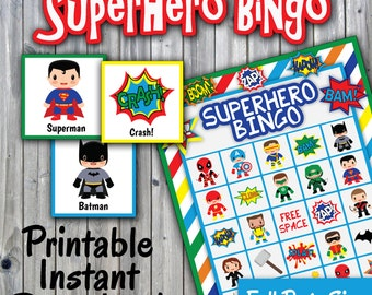 SuperHero Bingo Printable Game - 30 different Cards - Full Page Size - Super Hero Memory Game - Printable Party Game - INSTANT DOWNLOAD
