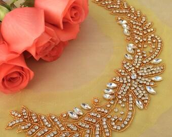 Gold Rhinestone Applique Collar Applique. Neckline Applique. Collar Applique Handmade Gold Rhinestones with Beaded Long U-Shape- FILICIA