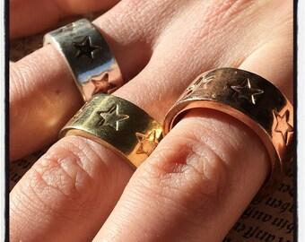 Sterling Silver Stars Band Ring Gold Stars Ring Stars Ring Wedding Band Anniversary Band Wedding Ring Valentines Gift Biker Ring Mafia Ring
