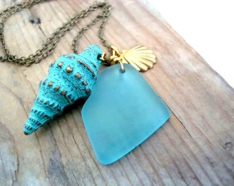 Shell and Sea Glass Necklace Aqua Blue Charm Necklace Brass Jewelry Layering Necklace Beachy Summer Jewelry Gifts Under 40