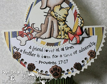 Best Friend Friendship Proverbs Dimensional Religious Christian Animal Bible Unique Folded Shaped One of a Kind Handmade Greeting Card