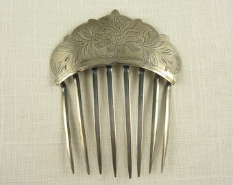 Antique Victorian American Sterling Engraved Hair Comb