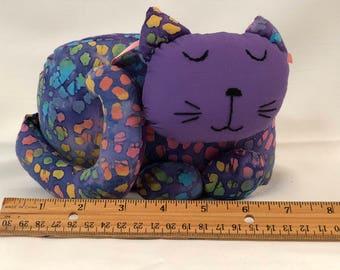 Cat Doorstop / purple batik