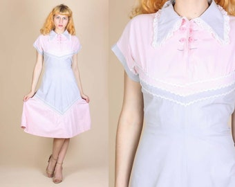 1950s Patio Dress - Large // Vintage 50s Ric Rac Trim Girly Day Dress