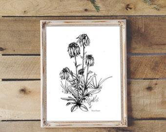 Dying Flowers Illustration- Giclee Fine Art Print - Pen and Ink Illustration - Dead Flowers Drawing - Artist Rachael Caringella