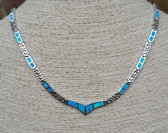 Natural blue / green Opal and Sterling silver Necklace