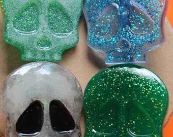 Glitter Skull brooches Halloween Goth and Gouls