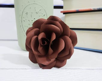 Brown Paper Flowers - Paper flowers with stems - Paper Flower Bouquet - Wedding Bouquet - Mother's Day Gift - Paper Anniversary -