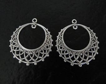 6 Antique Silver Filigree Hoops 32x25mm - Vintage Look, Made in USA, AS28