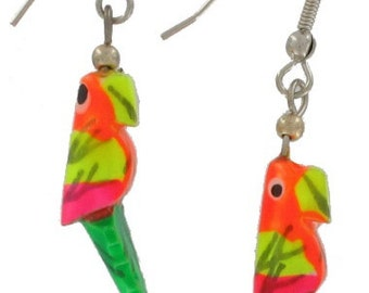 1980s Vintage Wood Small Neon Parrot Dangle Earrings