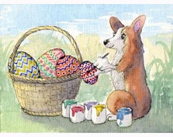 Welsh Corgi dog pup Easter eggs signed art print