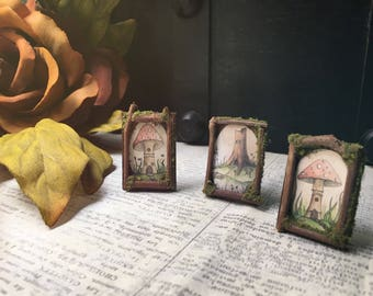3 Faery Picture Frames - miniature fairy furniture, fairy picture frames, miniature frames, art - ooak and handmade by thefaeryforest