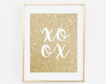 XO Printable Wall Art, Gold glitter, DIY wall art, statement print, 8 x 10, Instant Download, Digital Print, XOXO, Inspirational art