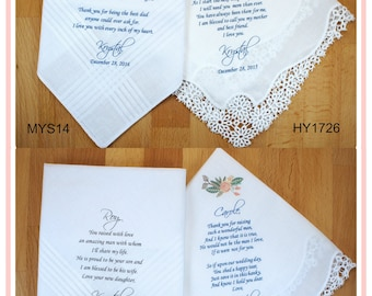 Wedding Handkerchief-Mother of the Bride Gift-Father of the Bride-Mother of the Groom-Father of the Groom-Set of 4-Parents Wedding Gift 1