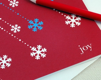 Christmas Card - Joy & Snowflakes Holiday Greeting Card by Oh Geez Design