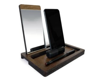 Makeup organizer with cell phone stand,make up mirror,cosmetic storage,makeup storage,bedroom vanity with mirror,office gifts for women