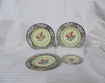 Vintage 50s Pretend Play Dishes Doll Tea Party Plastic Mid Century AS IS Wheat Silver Cream Color