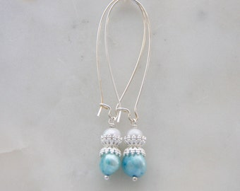 Silver freshwater pearl earrings long