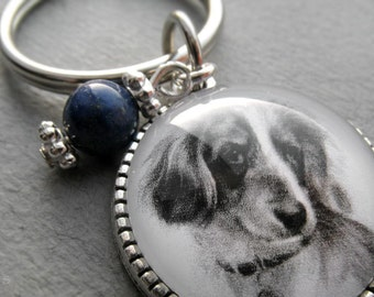 Long Haired Dachshund Key Ring, Pet Drawing, Pet Gift, Daxon Keychain, Dog Art, Silver, Bronze, Gemstone, Birthstone Keychain