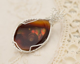Mexican Fire Agate Sterling Silver Pendant 20.4ct (MAL131-2P)
