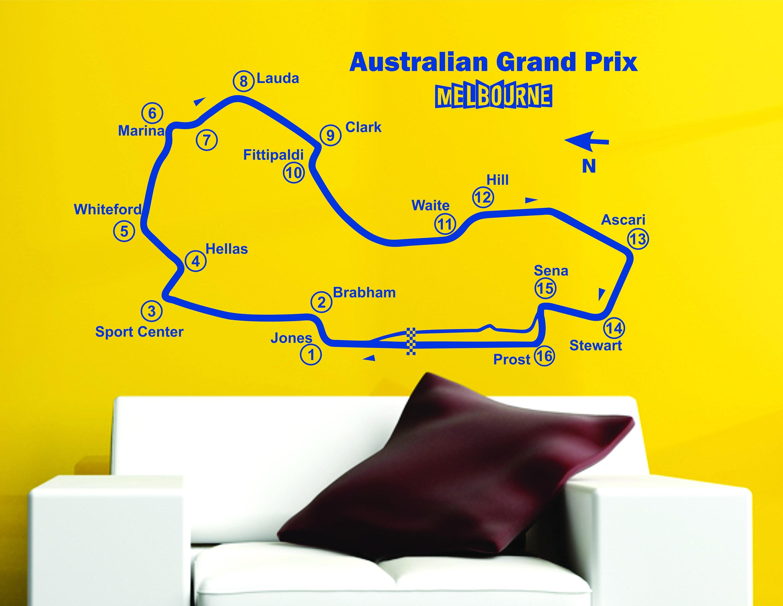 Australian Grand Prix Track Circuit Map F1 MOTO GP Decor Art Vinyl ...