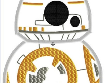 Pop Star Wars - BB8 - 4x4, 5x7 and 6x10 in 9 formats - Applique - Instant Download - David Taylor Digitizing