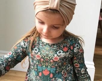 Pale gold Turban hat / Baby turban hat / newborn turban hat / girls turban hat / toddler turban hat / kids turban hat / hipster baby