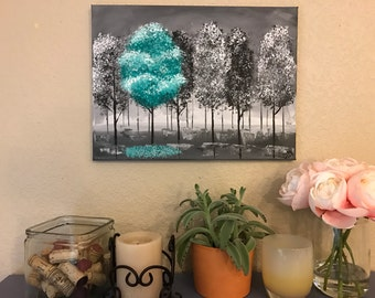 Pop of Color Landscape, Customizable (Acrylic Canvas Painting)