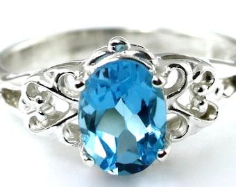 Swiss Blue Topaz, 925 Sterling Silver Ring, SR302