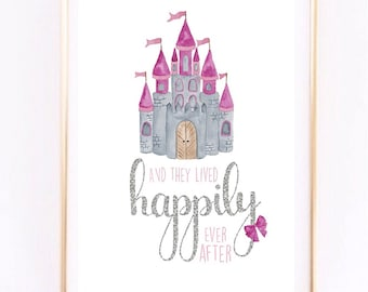 And they lived happily ever after Princess Castle Girls Nursery print