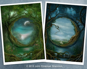 Art Print Set - Day and Night & Night and Day A3 (11.7x16.5) prints by John Emanuel Shannon