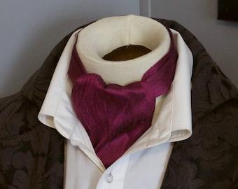 DAY Cravat Victorian Ascot Tie Cravat - Purple Grape Dupioni SILK