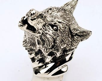 Artistic Wolf Ring in Bronze or Silver, Silver Wolf Ring, Wolf Ring in Sterling SIlver