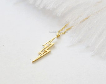 Gold lightning bolt necklace, thunder bolt necklace, lightning necklace, bolt necklace, dainty, simple necklace, birthday, wedding gifts