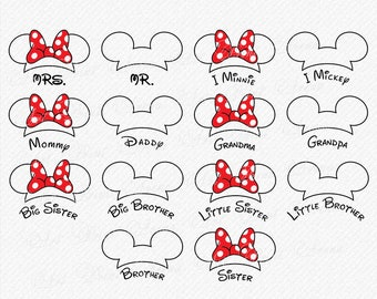Mickey Family SVG outline, Mouse Ears svg, Minnie Bow svg, Mickey SVG, Minnie svg, Mickey and Minnie SVG,  Cricut, Silhouette, Cut File