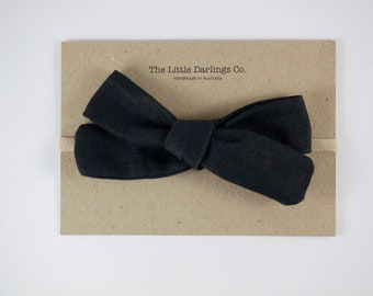 Hand Tied Hair Bow 100% Linen Large Schoolgirl in Black // Clip or Band