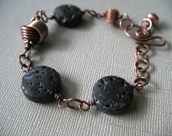 Lava Beads a Copper Knot Copper Chain Adjustable Copper Bracelet Organic Earthy Bracelet