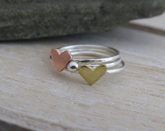 Silver stacking rings, stacking rings with hearts, heart stacking rings, stackable ring set, rings that stack, mixed metal jewellery, rings