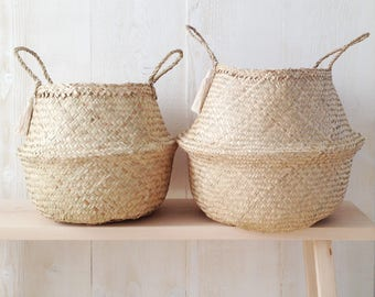 Natural Belly Basket Seagrass Panier Boule Tassel Large Medium Nursery Storage Market Bag Picnic Bag Planter Toy Organizer