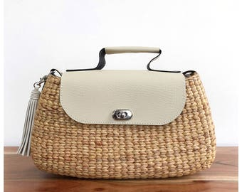 straw bag purse, straw handbag, straw tote, crossbody bag, straw bag, faux leather  (Mia Crossbody-Ivory)