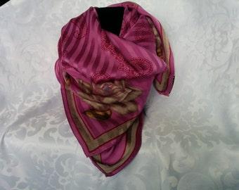 Albert Nipon Floral Silk Scarf, Albert Nipon Scarf, Silk Scarf, Purple Scarf, Floral Scarf