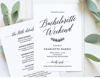 Bachelorette Party Weekend Invitation, Itinerary, Agenda, Weekend Events, 100% Editable Template, Instant Download, Templett, DIY #034-104BP