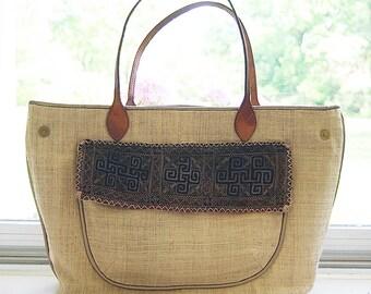 Wearing hemp canvas shoulder bag