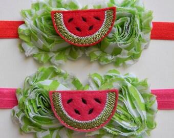 Watermelon Headband, Summer Headband, Watermelon Hair Bow, Elastic Headband, Photo Prop, Girl Gift