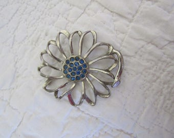 Vintage Flower Brooch with Blue Rhinestones in the Center
