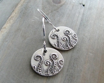 Fiddlehead Family, Fine and Sterling Silver Fern Earrings, SilverWishes Original and Exclusive