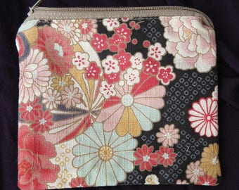 "Coin purse in Japanese cotton ""Black Japan"""