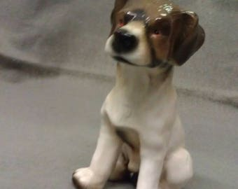 Beige Tan and Brown Dog with Black Nose and Stripe and Colorful Dog Figurine