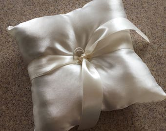 "6"" Ivory Satin Ringbearer Pillow with rings"